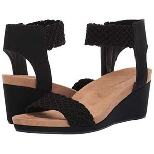 Lucky Brand Kierony black crochet wedge sandal